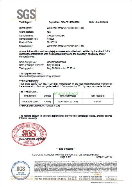 Chili powder SGS inspection report