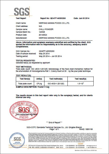Chili powder SGS inspection report,Quality - Manna Foods