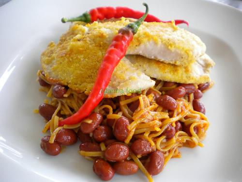 Tilapia with Cayenne Peppers Over  Spicy Noodles and Kidney Beans